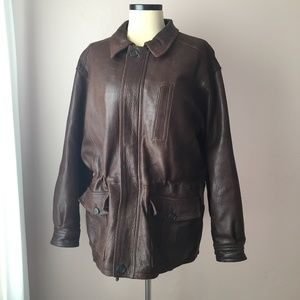 Pierre Cardin Brown Leather Coat M Mens